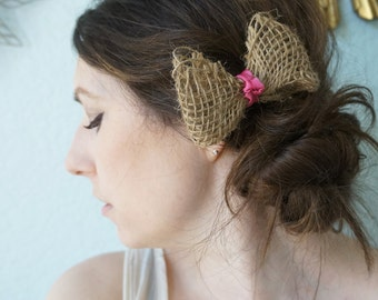 SATIN and BURLAP -- Rustic Woven Jute Burlap Ribbon Bow Hair Clip Rose Mauve Pink Knot, Wedding Bride Bridesmiad Flower Girl Hairpiece