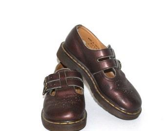 SALE Vintage Dr. Martens Mary Jane Shoes . 1980s RARE T-Strap Metallic Bronze Mary Janes Doc Martens . Docs England . Sz 4 Uk--Sz 6 1/2 Usa