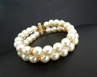 Bridal Pearl bracelet, Ivory Swarovski Pearls, Bridal Classic bracelet, Vintage Style, rhinestone bracelet, Wedding Pearl bracelet, RENEE