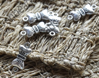 48 pcs Antique silver bowknot Connector Charm,7x19mm Jewelry Findings charm,Charms findings beads
