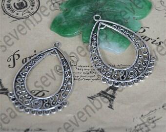 10 pcs Drop Circle Charm Connectors Antique silver Tone,earring Connector Dangle, pendant findings,pendant charm