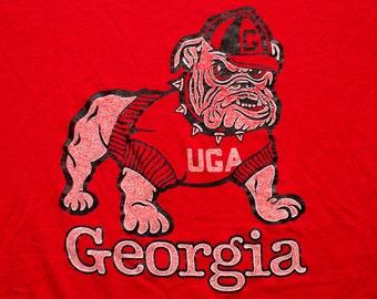 UGA Georgia Bulldogs T-Shirt, College University Mascot, Vintage 80s