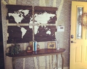 World Map - Wood Map - Large Wooden Map - Large World Map - Wooden World Map - Map Wall Hanging - Map Of The World - Rustic Home Decor