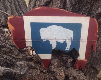 Bison Art -  Rustic Wyoming Home Decor - Hand Cut Buffalo - Wyoming Flag - Wyoming Buffalo Sign - Rustic barn wood
