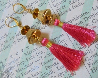 Pink and Gold Tassel Earrings (2617)