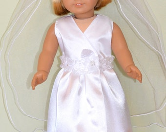 American Girl Doll Clothes -  American Girl Doll Communion Dress and Veil, First communion dress, doll communion