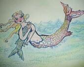 Mermaid Gone Fishing Kate Perrin Unique Art Mixed Media