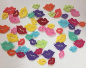Wool Felt Lips 50 total - Bright colors. 3502