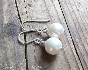 Silver Silver Swarovski Pearl Earrings // Simple Everyday Wear // Bridesmaid Jewelry // Wedding Jewelry // Gifts For Her
