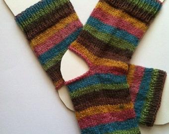 Hand Knit Superwash Wool Yoga Socks, Feet Warmers, Dance Socks, Pedicure Socks, Pilates socks, Hipster Socks, Flip-flop Socks, Toeless Socks