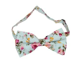 Men's Pre-Tied Aqua Floral Bow Tie
