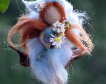 Fairy ornament Needle felted Waldorf inspired  doll with flowers Home decor