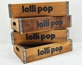 Vintage Wood Lollipop Crate - 1970's wooden soda pop crate