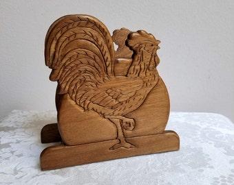 Vintage Rooster Wood Napkin Letter Holder, Carved Wood Bird, Farmhouse Decor