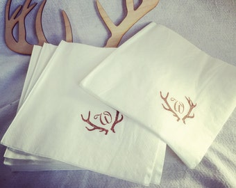 Personalized Rustic antlers  Paper Napkins, Monogrammed - Set of 50