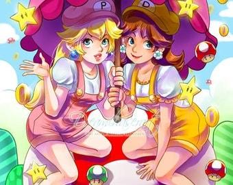 art print Princess Peach and Daisy