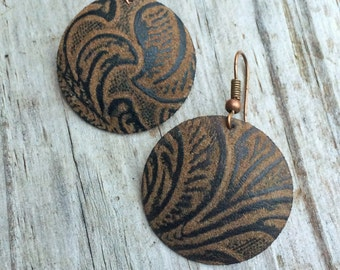 Leather and Copper Earrings, Faux Vegan Leather Jewelry