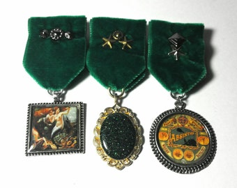 Steampunk Cosplay Medal // Custom SINGLE CHARM Medallion // Emerald Green Velvet Ribbon // Optional Studding