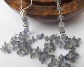 Tanzanite necklace, tanzanite square necklace, blue tanzanite, blue beaded necklace, sterling silver, something special, natural tanzanite