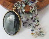 Black glass pendant, mega black glass, gemstone necklace, sterling silver, wear everyday, long necklace, vintage glass, vintage pendant