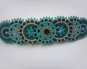 Native Inspired Rosette Beadwork, Beaded Statement Accessory, Teal Rosette Beadwork on Leather, Crystal Hair Clip, Circle Beaded Hair Clip