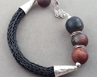 Summer Bracelet Viking Weave Raku Sterling Silver Asymmetrical OOAK