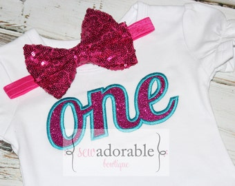 ONE Appliqued Birthday Ruffle Tee - Pink and Turquoise Glitter