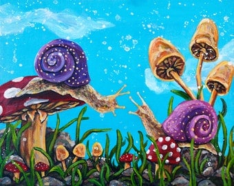 Original Acrylic Snail Painting - Meeting Place
