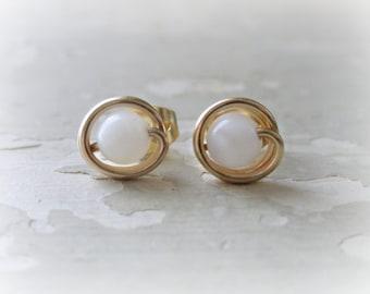 Small White Studs, Gold Stud Earrings, Little Stud Earrings, Mother of Pearl Studs, White Gold Studs, Tiny Stud Earrings, Little White Studs
