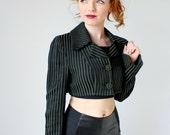 Steampunk Green Stipe Bolero- Fashion Crimes, Bell Sleeve, Goth Cropped Jacket, Blazer, Army Green Black Stripe S/M Tim Burton Costume