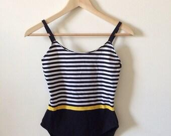 90s Stripe Bodysuit- Yellow, Bodycon Onesie Dancewear Monochromatic Hipster Burnout