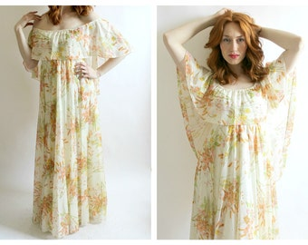 70s Off Shoulder Maxi Dress- Flowy, S/M, Boho Chich Hippie Florence Welch 60s Stevie Nicks Empire Waist Witchy