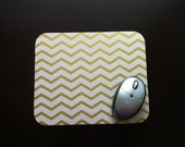 "Gold Chevron Mouse Pad, Gold Chevron Mousepad, Computer Mouse Pad, Mouse Mat, Gold & White Chevron, 1/4"" Thick Mousepad, Office"