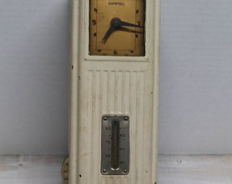 Vintage Art Deco Sampsel Thermostat, Analog Clock