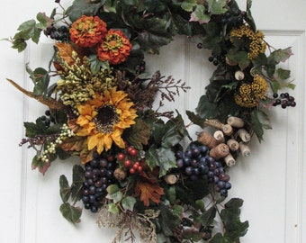 Fall Wreath - Wine Wreath - Wine Country – Front Door Wreath – Cork Wreath – Wine Cork Wreath