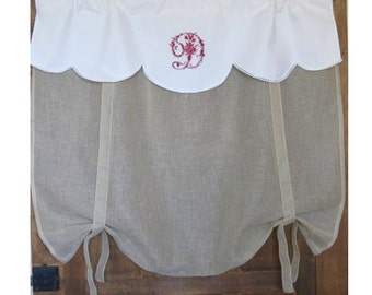 Linen Valance, Antique Embroidered Monogram, Natural Sheer Tie Up Shade, Bedroom, Bathroom, Kitchen European Decor