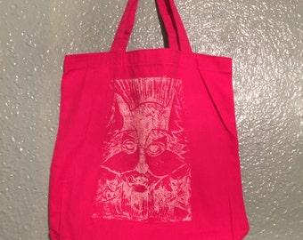 Wolf Pack, Pink Canvas Tote Bag, hand printed LINOLEUM Block