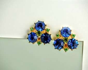 Magnificent Vintage Blue and Green Rhinestone Earrings