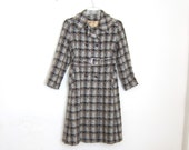 Houndstooth Coat 1960s Mod Woven Wool Belted Peacoat Belted Ladies Size Small