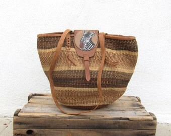Large Straw African Tote Raffia Ethnic Bucket Sisal Market Basket Bag w/Zebra