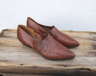 Ankle Chelsea Booties Tan Leather Winklepickers 1990s Ladies Size 10