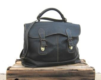 Satchel Briefcase Black Blue Large Laptop Work Bag w/Shoulder Bag