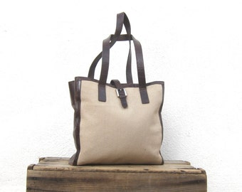 Canvas and Brown Leather Tote Crocodile Embossed Shopper Bag by Joan and David