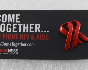 MTV Come Together Aids/HIV  Awareness Pin Double Ribbon Metal Enamel