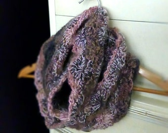 Wool and Mohair Infinity Scarf { cream, pink, brown variegated } Chunky Starburst Wrap