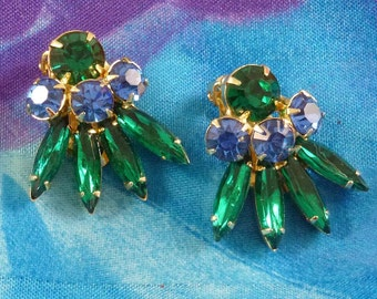 Vintage Large Blue Green Rhinestone Clip On Earrings