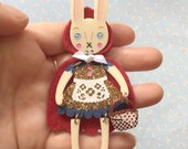 Dress Up Bunny Buddy Brooch Little Red Riding Hood