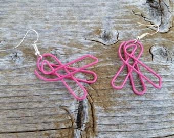 Pink Survivor Ribbon Repurposed Paperclip Earrings