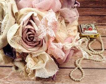 Only One! Bridal Bouquet-Rustic Bouquet- Wedding Pink Bouquet with Roses, Gauze, Pearls, Lace
