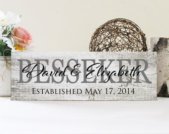 Custom Family Name Sign, Personalized Wood Plaque, Great Wedding Gift
